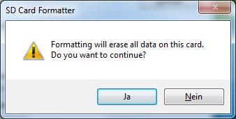 Warnung vor dem Löschen aller Daten