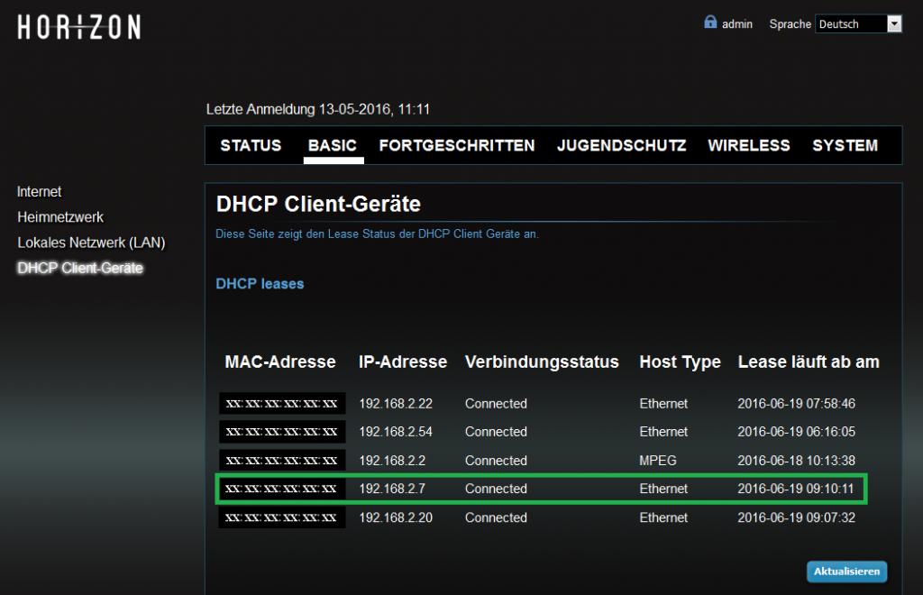 Unitymedia Horizon HD Recorder DHCP Getäte