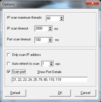 Free IP Scanner - Options