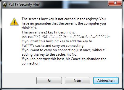 PuTTY - Bild 3 - Sicherheitswarnung