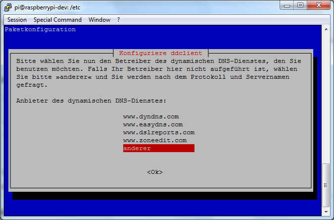ddclient-install(1) - DDNS Service Anbieter Auswahl