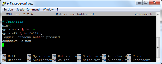 nano - userbuttonhalt bash-Skript