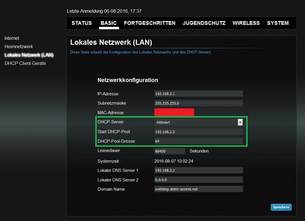 UPC Webapp - DHCP Server Einstellungen