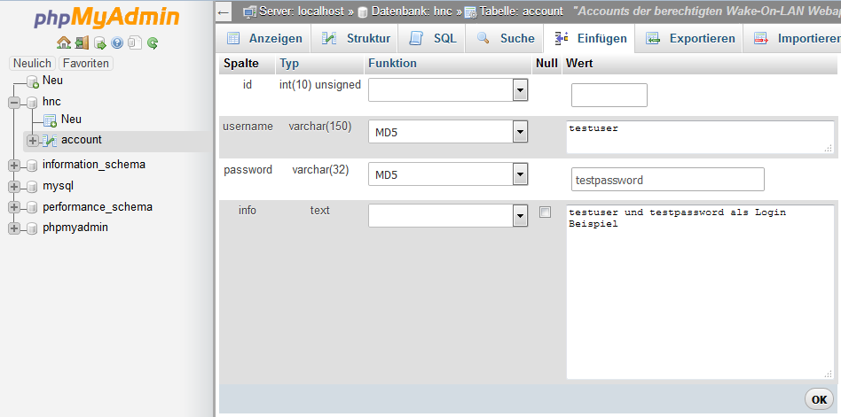 account Tabelle- Benutzer anlegen