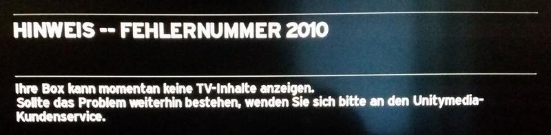 Unitymedia Fehlernummer 2010