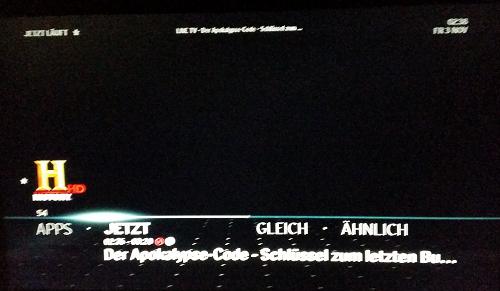 Aufnahme History HD am 03.11.2017 um 02:38 Uhr. Der Bildschirm bleibt schwarz.