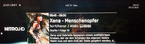 """...um 8.45 Uhr wird aber schon """"Xena""""-Info angezeigt."""