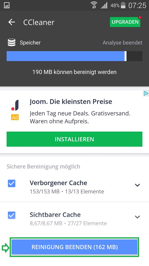 Android_CCleaner_Reinigen