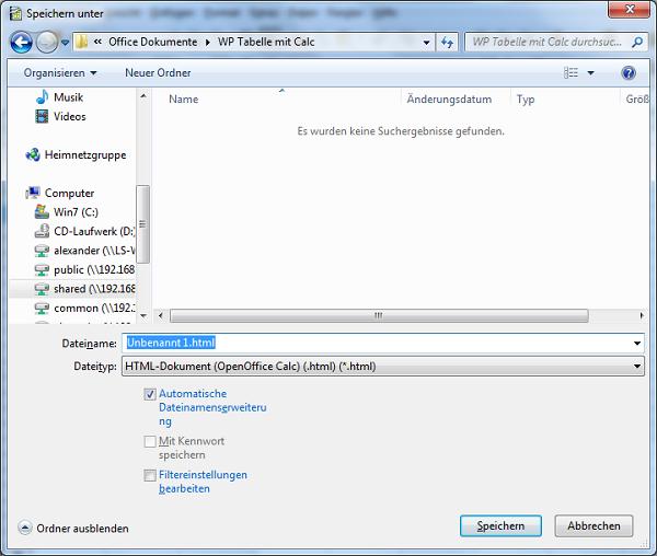 OpenOffice Calc-Tabelle als HTML speichern - Bild
