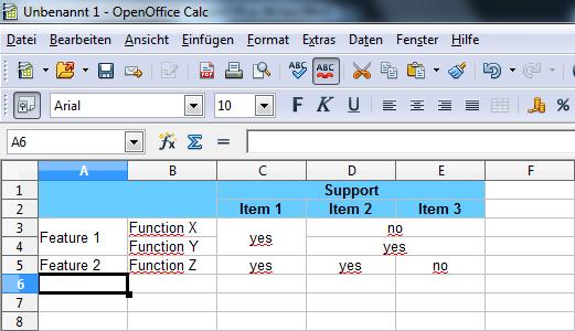OpenOffice Calc-Tabelle - Bild