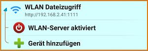 X-plore File Manager - WLAN-Server aktiviert - Bild