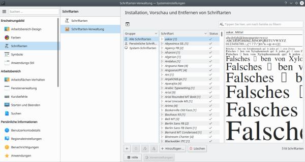 Kubuntu Schriftarten-Verwaltung [Image]