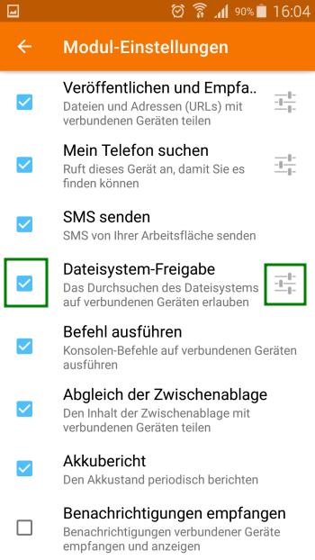 KDE Connect - Dateisystem-Freigabe Einstellungen - Android