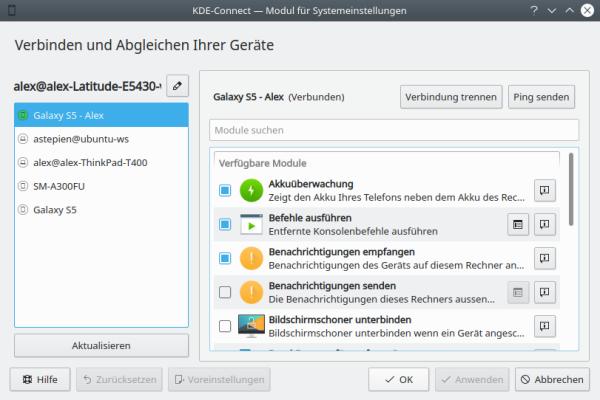 KDE Connect - Einstellungen - Desktop