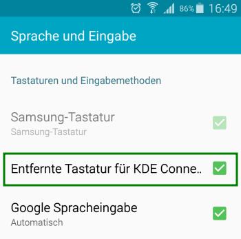 KDE Connect - Entfernte Tastatur aktivieren - Android