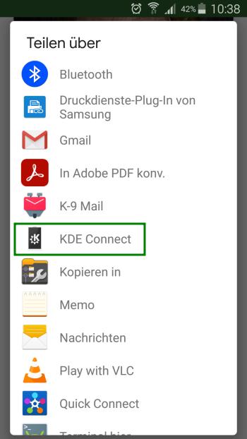 KDE Connect - Internet Bild teilen - Android
