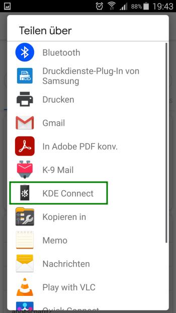 KDE Connect - Internet Browser Teilen ueber KDE Connect - Android