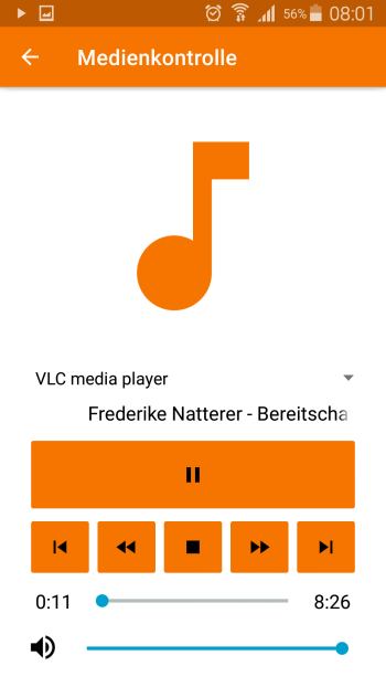 KDE Connect - Medienkontrolle Mediaplayer - Android