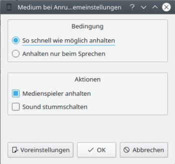 KDE Connect - Medium bei Anrufen anhalten - Optionen - Desktop-PC