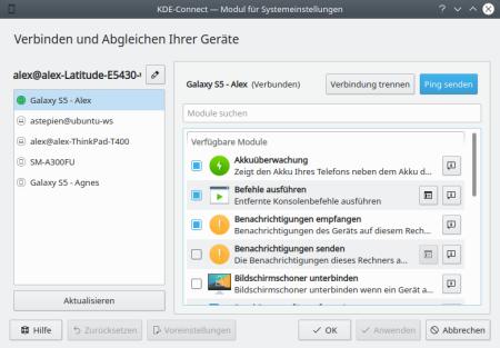 KDE Connect - Ping senden vom Desktop-PC