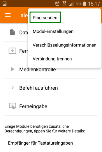 KDE Connect - Ping senden - Android