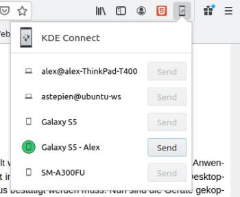 KDE Connect - Weblink teilen