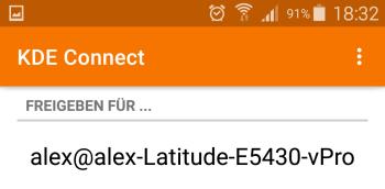 KDE Connect - Zielgerät auswählen - Android