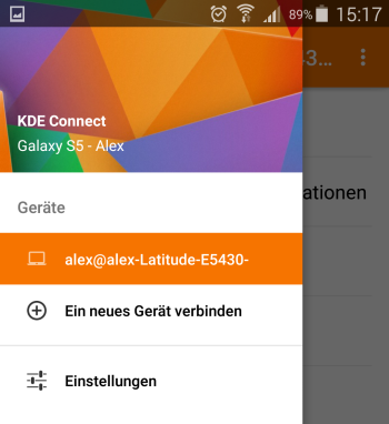 KDE Connect - Menü Zielgerät wählen - Android