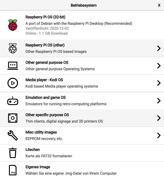 Raspberry Pi Imager - OS wählen