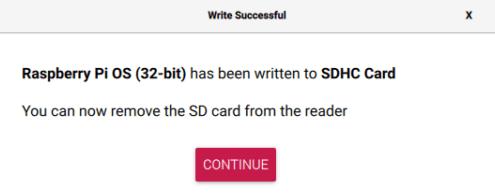 Raspberry Pi Imager - Schreiben abgeschlossen