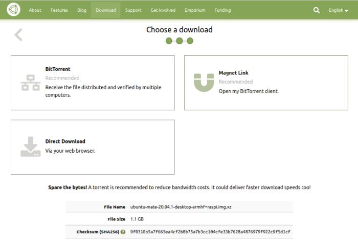Ubuntu MATE - Download-Quelle wählen